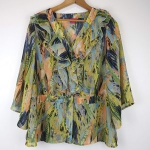 Sunny Leigh Sheer Floral Blouse w 3/4 Sleeves L